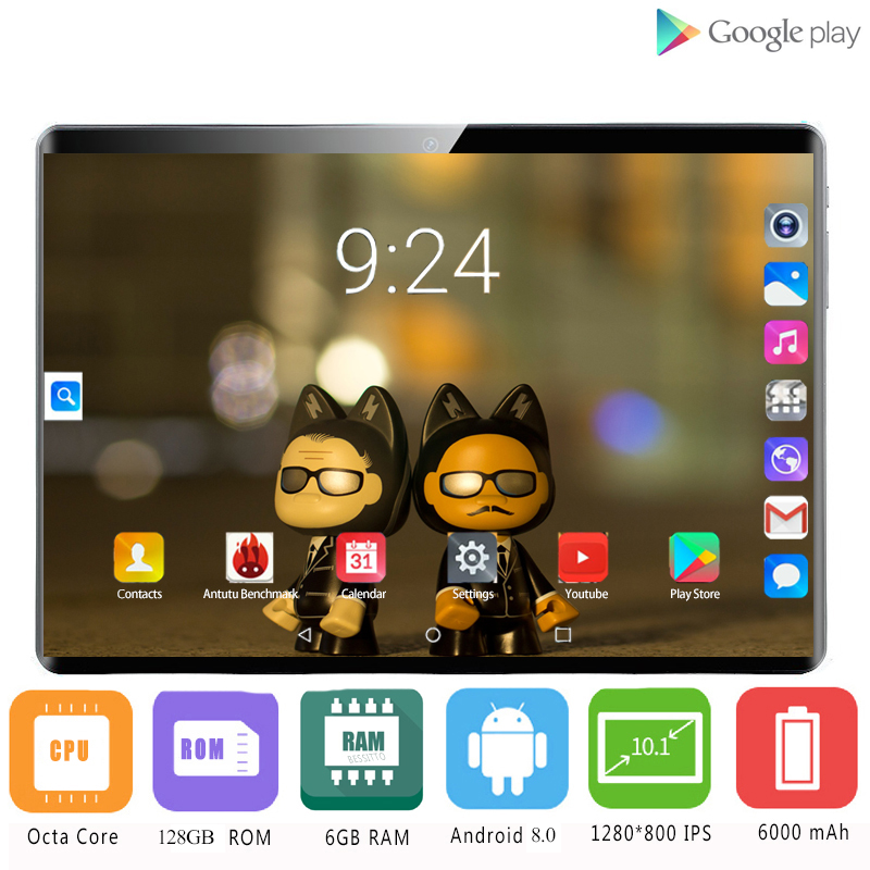 Super Tempered 2.5D Glass 4G LTE 10 Inch Tablet Pc Octa Core 6GB 128GB 1280*800 IPS Screen WIFI Android 8.0 GPS Tablets 10.1