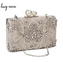 Apricot Silber Kristall Clutch Handmade Perlen Perle Hochzeit Kupplung Geldbörse Luxus Handtaschen Frauen Schulter Taschen ZD1361