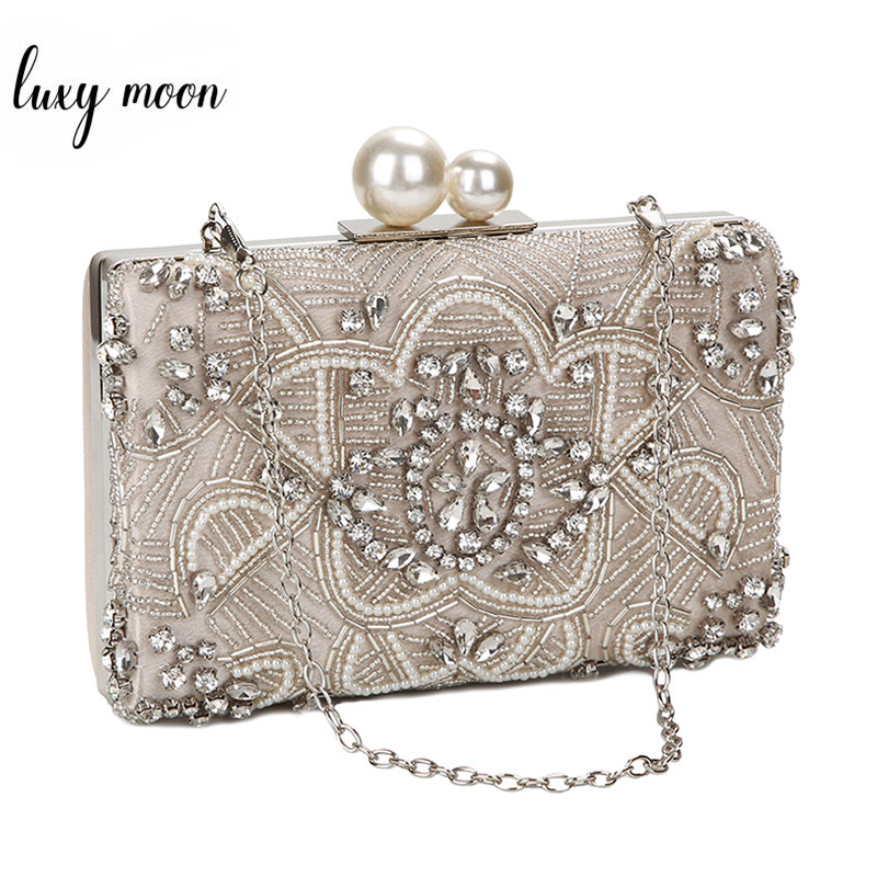Apricot Silver Crystal Clutch Bags Handmade Beaded Pearl Wedding Clutch Purse Luxury Handbags Women Shoulder Bags ZD1361