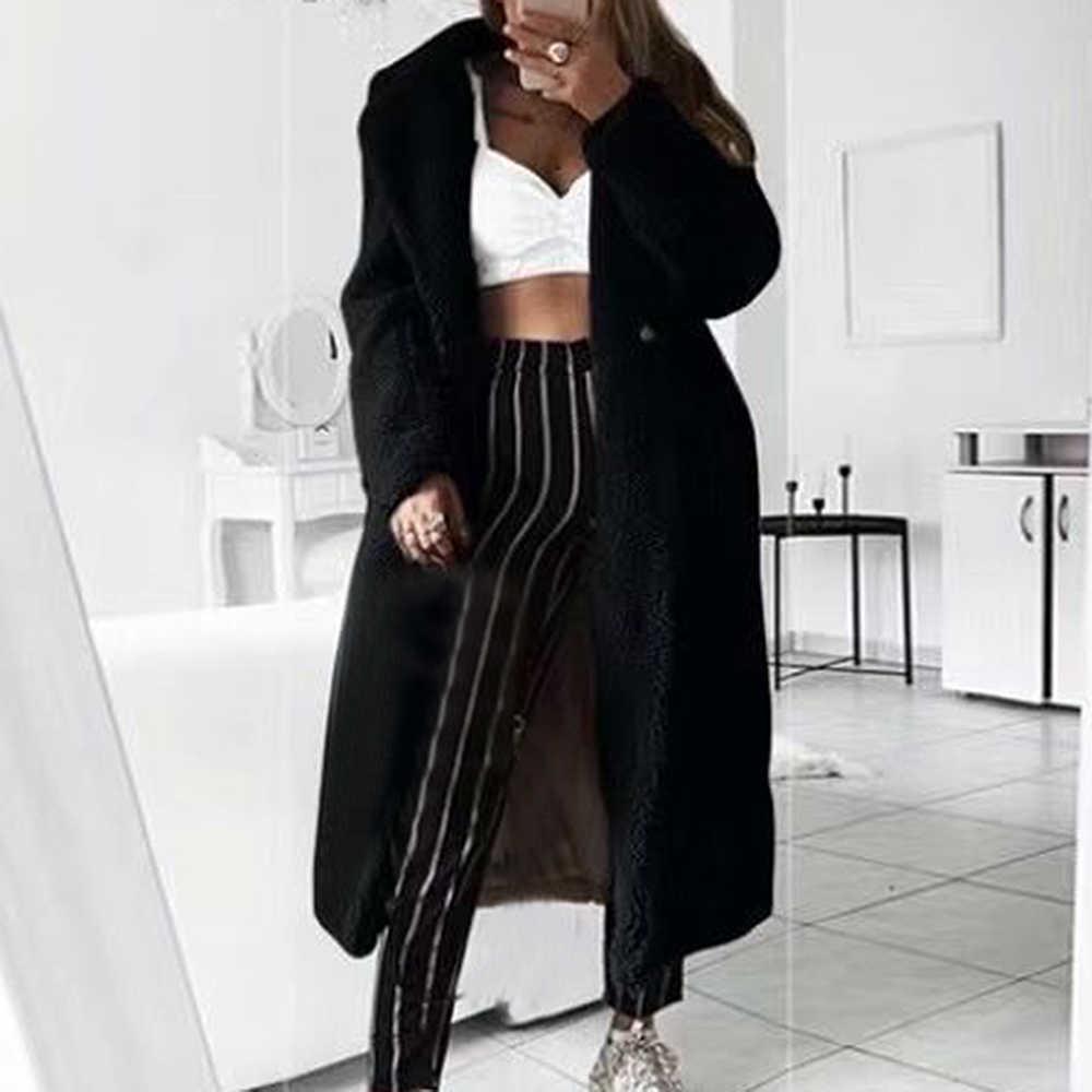 MoneRffi jesień płaszcz futrzany na zimę kobiety dorywczo luźny jednolity kolor, długi pluszowy płaszcz ciepła kobieta Retro gruba kurtka ze sztucznego futra pluszowe znosić