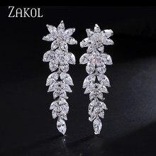 Zakol luxo lindo marquise cluster flor forma zircônia cúbica longo balançar gota brincos para noivas casamento jóias fsep005