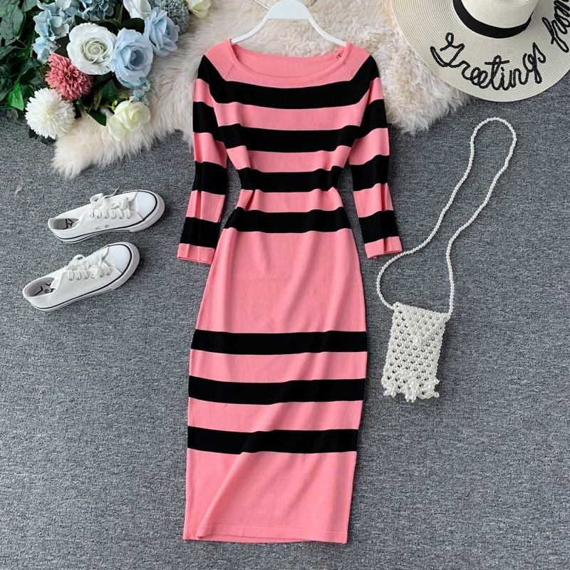 2019 New Women Autumn Striped Dress Elegant Office Lady O-neck Empire Mid-Calf Knitting Vestidos