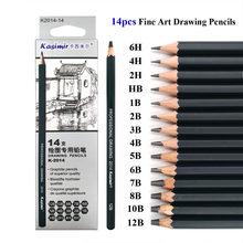 KASIMIR profesjonalne 14 sztuk rysunek szkic ołówkiem zestaw Grapgite ołówek dostaw sztuki 6H 4H 2H HB B 2B 3B 4B 5B 6B 7B 8B 10B 12B
