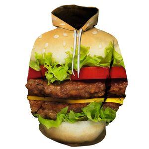 Burger Hoodie Hamburger 3D Print Sweatshirts Men Hip HOP Hoodies Outfits Coats Fashion Clothing Sweats Tops For Unisex(China)