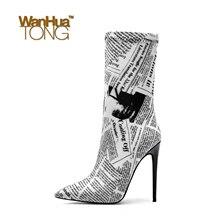 цена на Woman Fashion Stretch Lycra Slogan Print Color Block Pointed Toe Stiletto Heel Sexy Fashion Woman Heeled Boots Size45