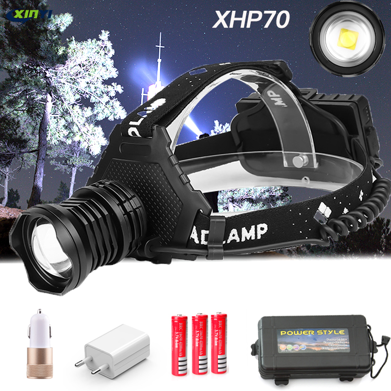 90000LM Powerful XHP70.2/XHP50 Led Headlamp Headlight 5Modes Zoom Head Lamp Flashlight Torch Lantern For Outdoor Fishing Camping