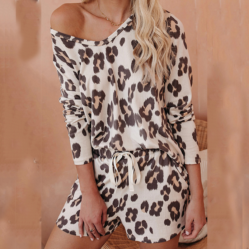 Leopard Print Women Sleepwear Home Suit Loungewear Pajamas For Women Summer Loose Short Sleep Bottoms Set Nightgowns Sleepshirts
