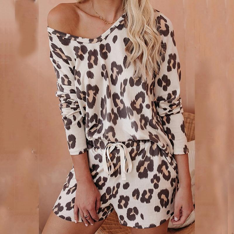 Leopard Print Women Sleepwear Home Suit Loungewear Pajamas For Women Summer Loose Short Sleep Bottoms Set Nightgowns Sleepshirts