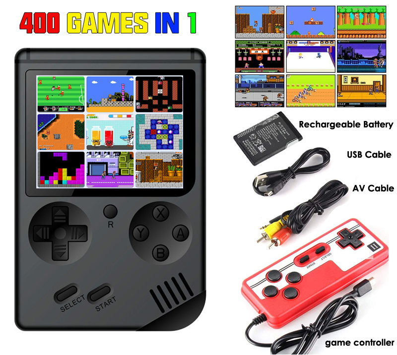 New Edition Retro Game Console Portable Handheld Game Player Built-In 400 Games Support 2 Player 8 Bit 3.0 Inch LCD Gameboy
