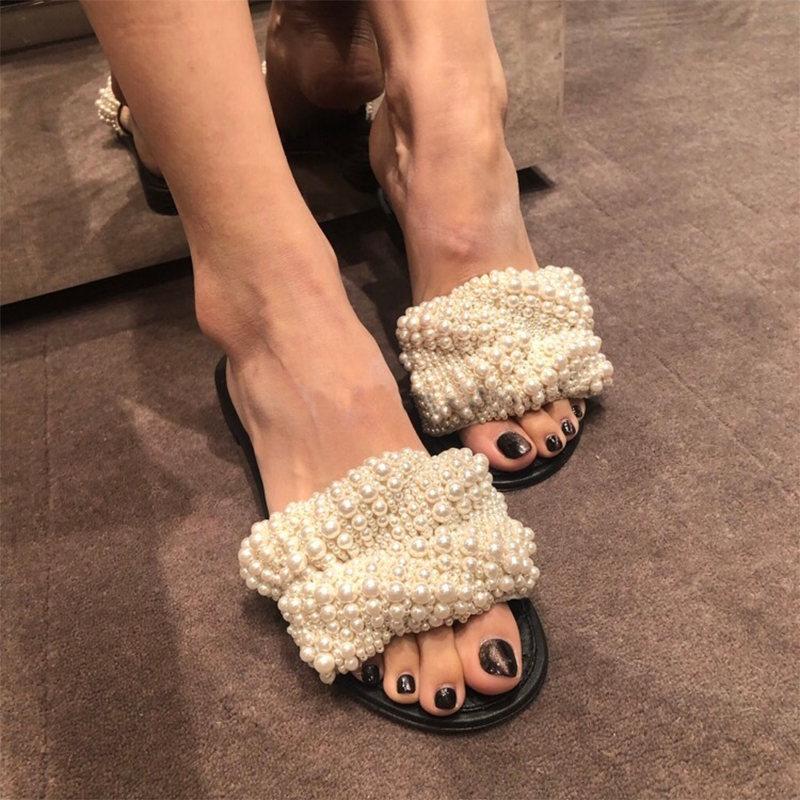 Summer Slippers Women Trendy Leisure Sweet Pearl Slides Beach Shoes Womens Simple Slipper Flip Flops Students Outside Chic New