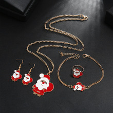 Hello Miss Christmas Necklace Set Cute Santa Claus Alloy jewelry Fashion Festival Women's Necklace Jewelry merry christmas santa claus jewelry sets lovely enamel father christmas dangle earrings ring necklace bracelets jewelry set gift