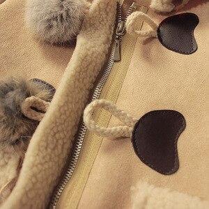 Image 4 - Nieuwe Meisjes Faux Suede Bont Bal Jas Leuke Hooded Fleece Jas Kids Herfst Winter Outfits Kinderen Dikker Kleding Warm Bovenkleding