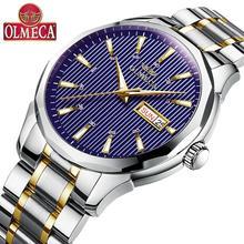 OLMECA Fashion Casual Brand Watch Calendar Wrist Watch Waterproof Reloj Hombre Blue Quartz Watches for Men Drop-Shipping недорого