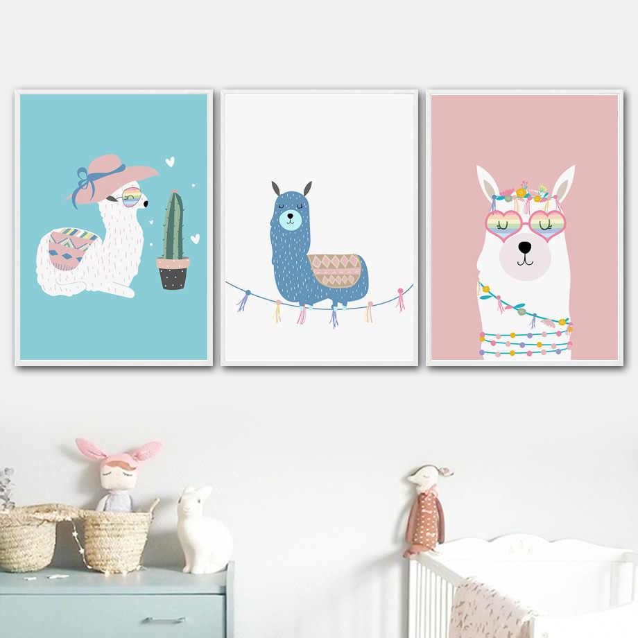 الكرتون لطيف الألبكة اللاما نظارات الصبار الرسم على لوحات القماش الجدارية الشمال الملصقات و يطبع جدار صور الطفل الاطفال غرفة ديكور