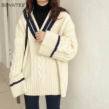 Swetry damskie w koreańskim stylu Patchwork Design dekolt w serek grubsza miękka zimowa, jesienna koszulka w stylu Vintage Flare Lady swetry Preppy Femme