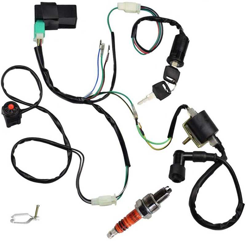 WOOSTAR Wire Harness CDI Ignition Coil Kill Switch Plug Rebuild Kit Replacement for 50cc 90cc 110cc 125cc Chinese ATV Quad Pit Dirt Bike Go Kart Buggy