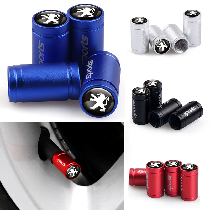 Car Styling 4pcs Metal SPORT Emblem Wheel Tire Valve Caps Stem Case For Peugeot 307 206 308 407 207 3008 208 508 2008 301 408