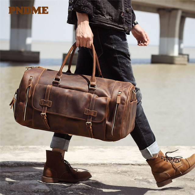 PNDME vintage large capacity genuine leather travel bag natural crazy horse cowhide handbag duffel bag real leather luggage bag 1