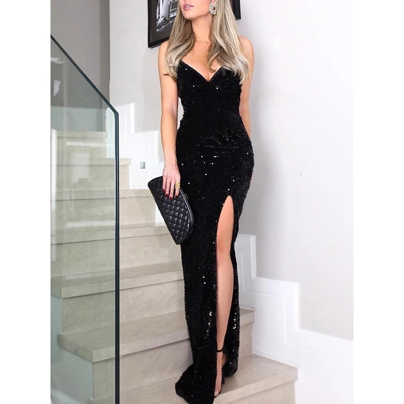 BacklakeGirls Sexy V Neck Sleeveless Split Side High Waist Black Sequined Long Evening Dress Formal Party Dress Vestidos Largos