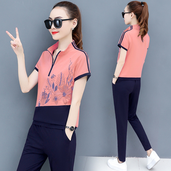 Two- Piece Pants 2020 New Summer Sports Suit Fashion 2 Piece Set Tracksuit 's New 2020 Short Sleeve Printed Top Casual Women summer short sleeve shorts running casual sportswear set women s fashion 2020 summer new short fashion pajamas two piece set