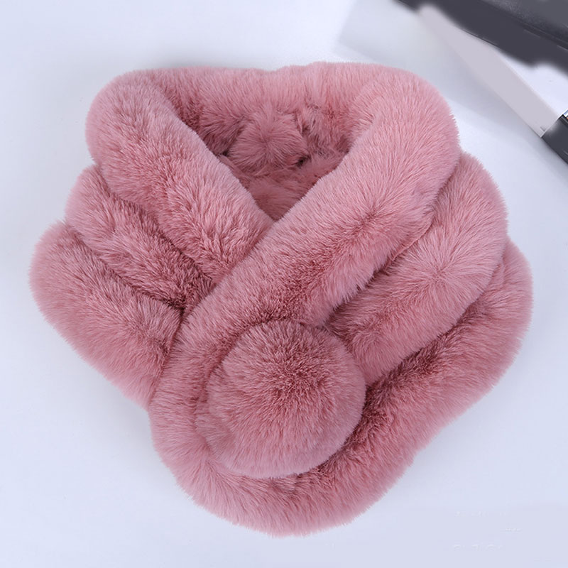Winter Scarf Luxury Faux Fur Warm Scarf Fashion Soft Plush Thicken Snood Scarves Shawl For Adult Kids Women Girls