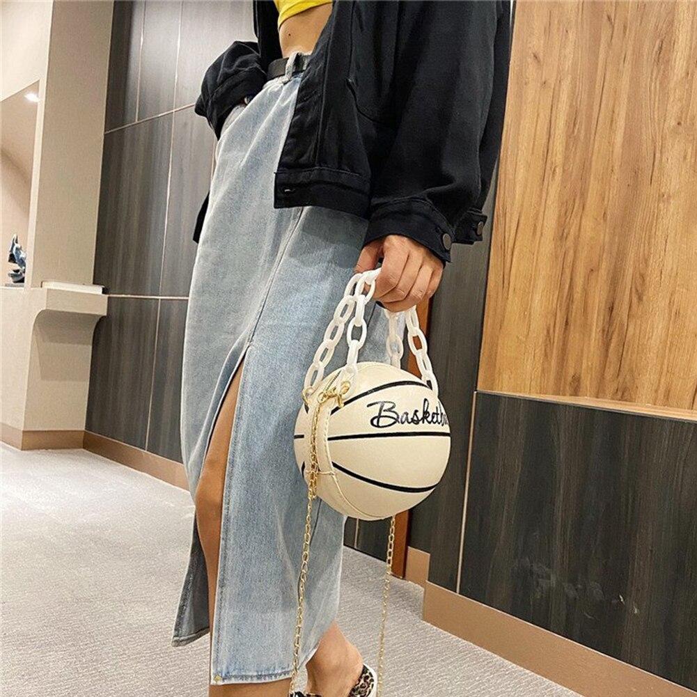 Модные баскетбольные круглые сумки через плечо для женщин, повседневные маленькие тоуты с акриловой цепочкой, мессенджеры через плечо из искусственной кожи-2