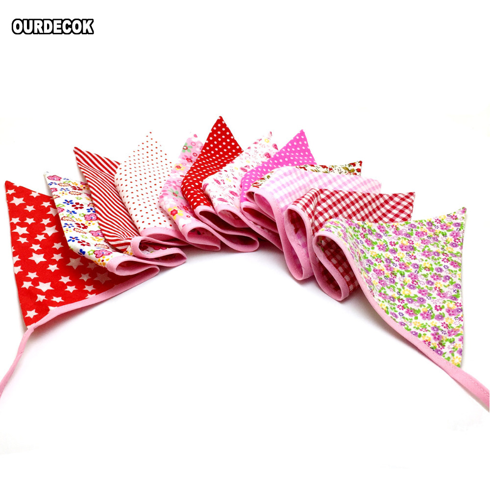 10 pieces 2.5m Multicolor Handmade 12flags Bunting Double side Fabric Flag Banner Garland Wedding Party Decoration