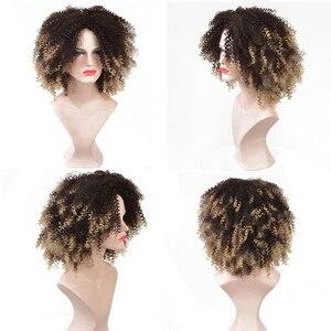 Image 5 - MSIWIGS pelucas rizadas Kinkly sintéticas marrones para mujeres 4 colores Rubio degradado Afro corto peluca negro africano
