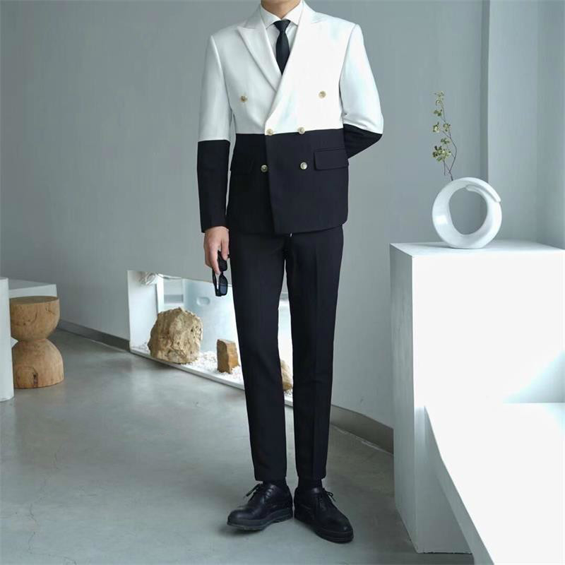Splice Contrast Color Mens Party Suits Mens Stage Fashion Mens Slim Fit Suits With Pant Prom Doube Breasted SuitCostume Homme