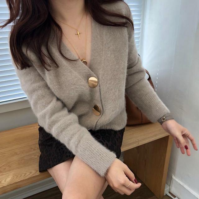 Mooirue Autumn Women Soft White Knitted Cashmere Sweater Double Button Women Warm Jumper V-Neck Winter Sweater 49