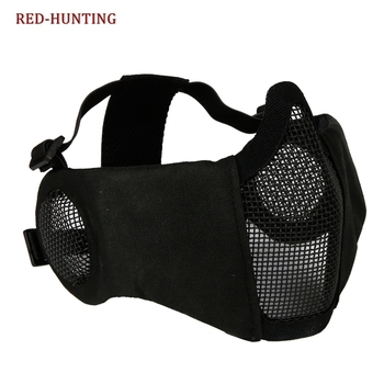New Tactical Airsoft Masks Paintball CS Foldable Half Face Low-carbon Steel Mesh Military Style Comfortable Ear Protective Mask