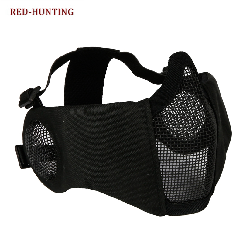 Tactical Airsoft Paintball CS Foldable Half Face Low-carbon Steel Mesh Military Style Comfortable Ear Protective Mask