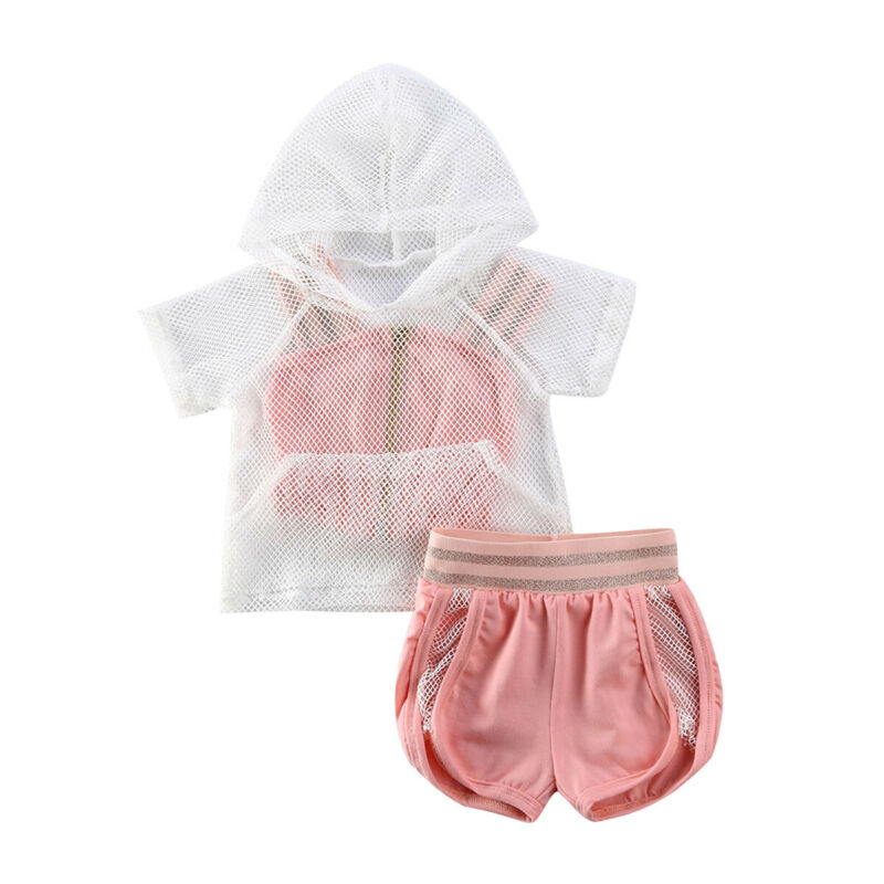 Pudcoco USPS Fast Shipping 0-5 Years Summer Kids Baby Girls Summer Clothes Set Mesh Hoodies Strap Camis Shorts 3PCS Outfits