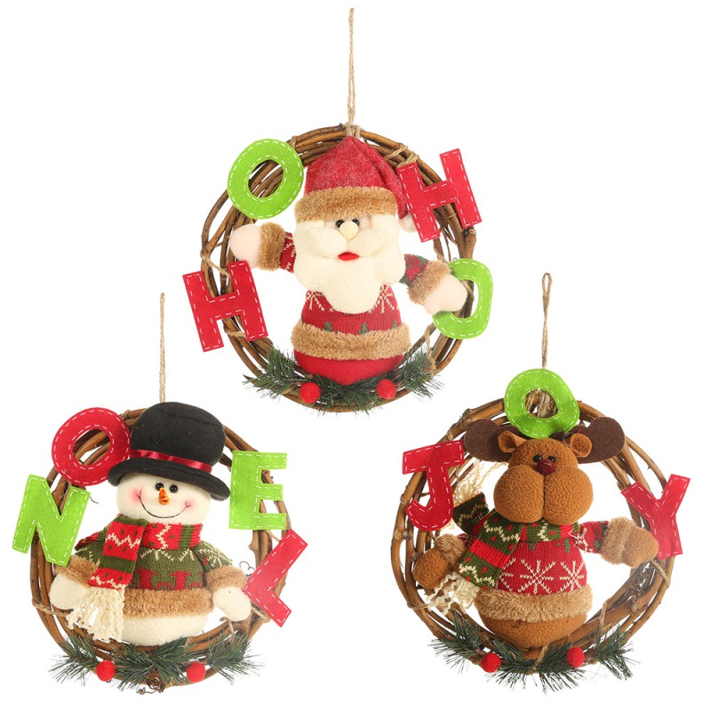 Christmas Santa Claus Snowman Reindeer Pendant Party Decorative Rattan Cartoon Doll Hanging Wreath Ornaments Door Decorations in Pendant Drop Ornaments from Home Garden