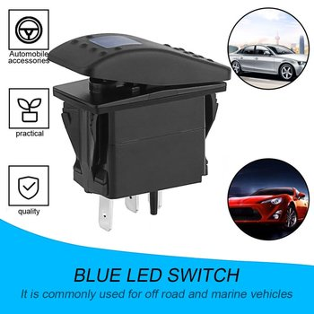 цена на Car Boat Truck Light Toggle Switch 3pin Waterproof 12V 20A Bar Carling Style Blue Rocker SPST ON-OFF Switch