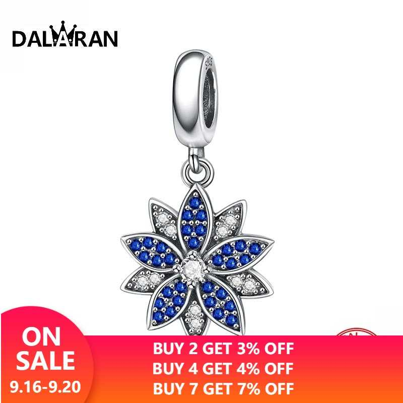 DALARAN 925 Sterling Silver Snowflake Charms Fit Original Bracelet Pendant Jewelry Making Fashion Christmas Gift for Girls