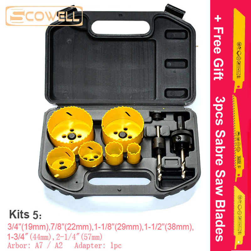 50% OFF 9PCS 19/22/29/38/44/57mm HSS M3 Hole Saws Kits With Arbor A7/A2 Drilling Holes With Adapter Holesaw Cutter