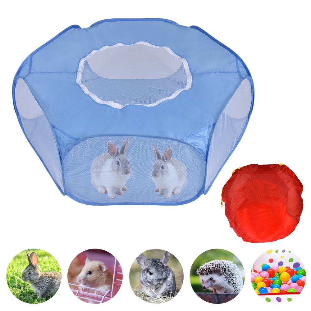 Pet Cage Small Animal Fence Toy Storage Bag Zipper Cover Yard Fence Outdoor Indoor Sports Tent For Hamster Turtle Kitten Rabbit