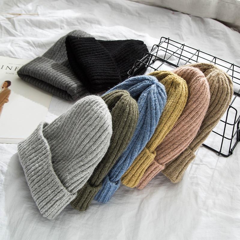 Knitted   Beanies   Women Winter Thick   Skullies   Female Caps Casual Ladies   Beanies   Autumn Mens   Skullies   2019 Warm Hats Bonnet Femme