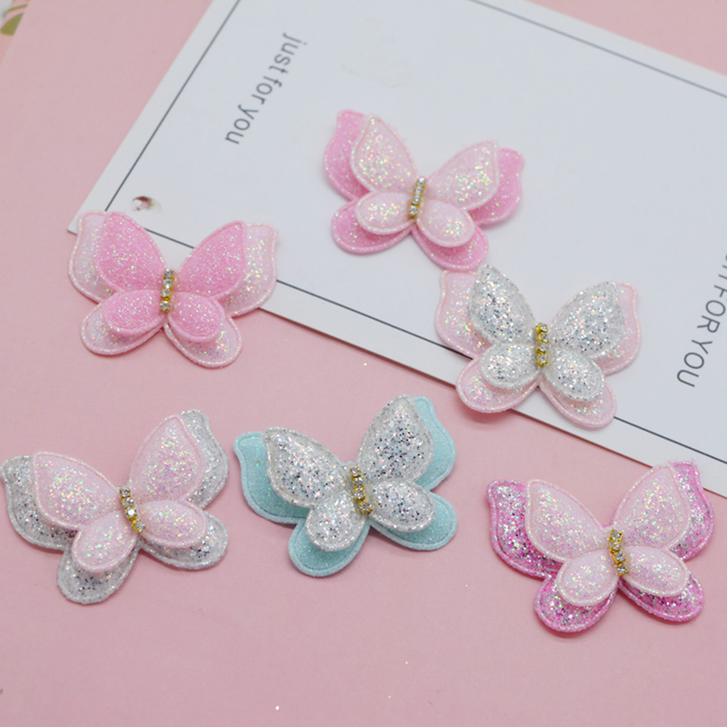 12pcs/lot 4.3*3.7cm two layer glitter Butterfly padded Appliques for Craft Clothes Sewing Supplies DIY Hair Clip Accessories(China)