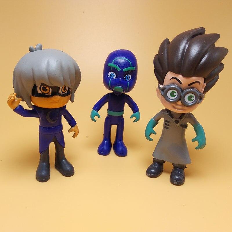 8cm Cartoon 6pcs /set Pj Mask Juguete Character Pj Masks Catboy OwlGilrs Gekko Action Figure Model Toys For Children Gift S41