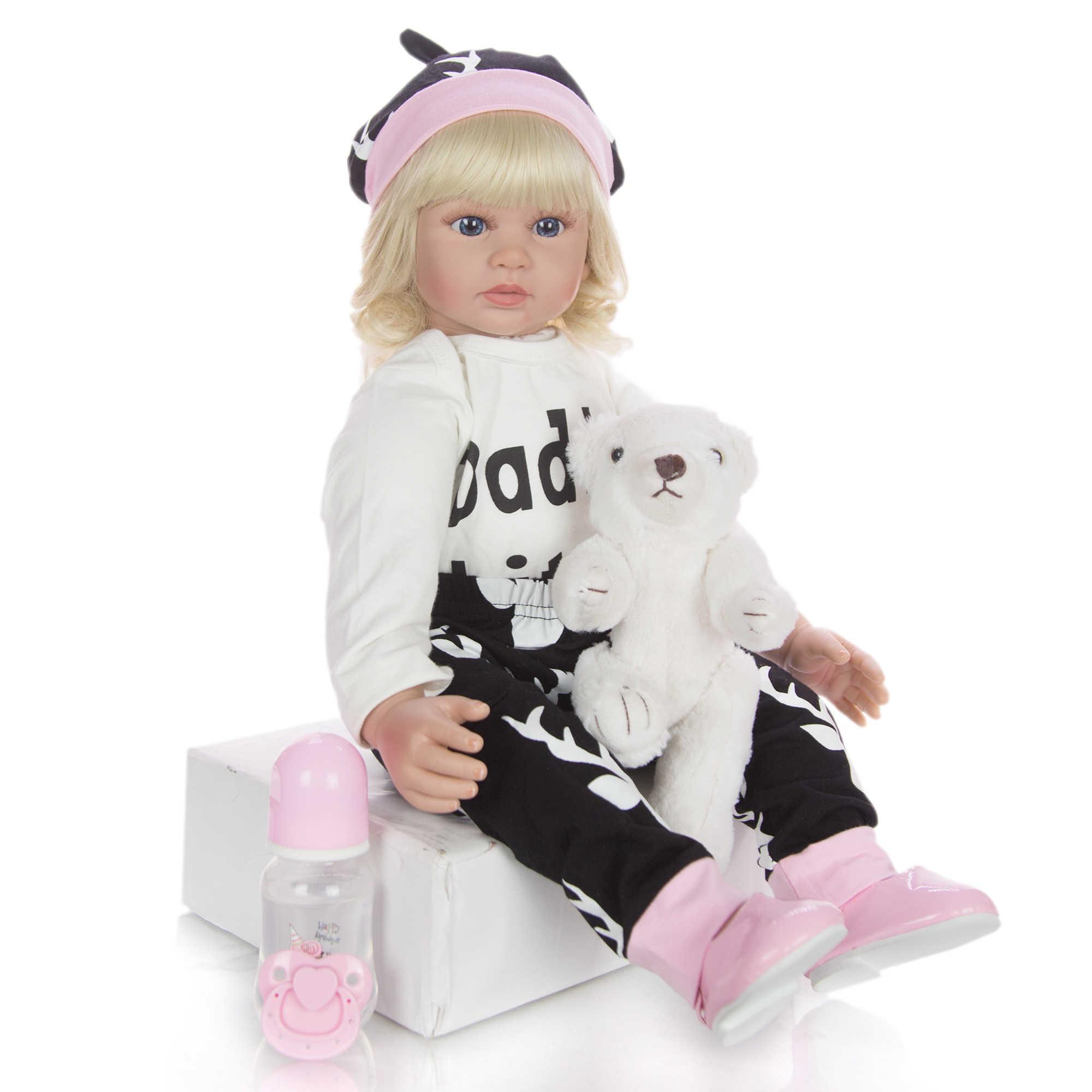 2020 Hot البيع الأميرة الطفل دمية 60 سنتيمتر الجسم القماش دمية الفينيل دمية جميلة تولد من جديد لعبة لفتاة طفل هدية عيد ميلاد النوم اللعب