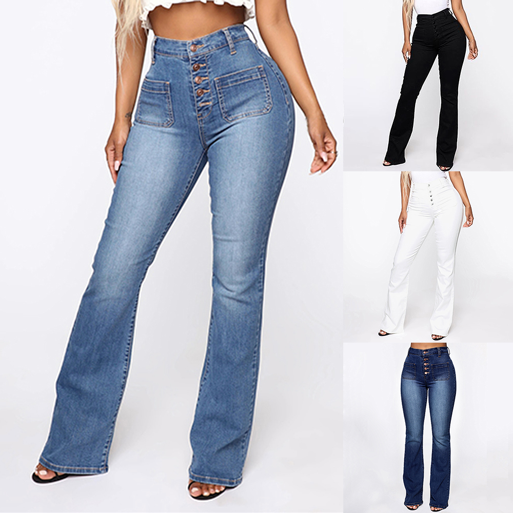 NIBESSER 2020 Fashion High Waist Denim Pants For Women Casual Ladies Pockets Jeans Spring Long Blue Denim Trouser Mujer Plus