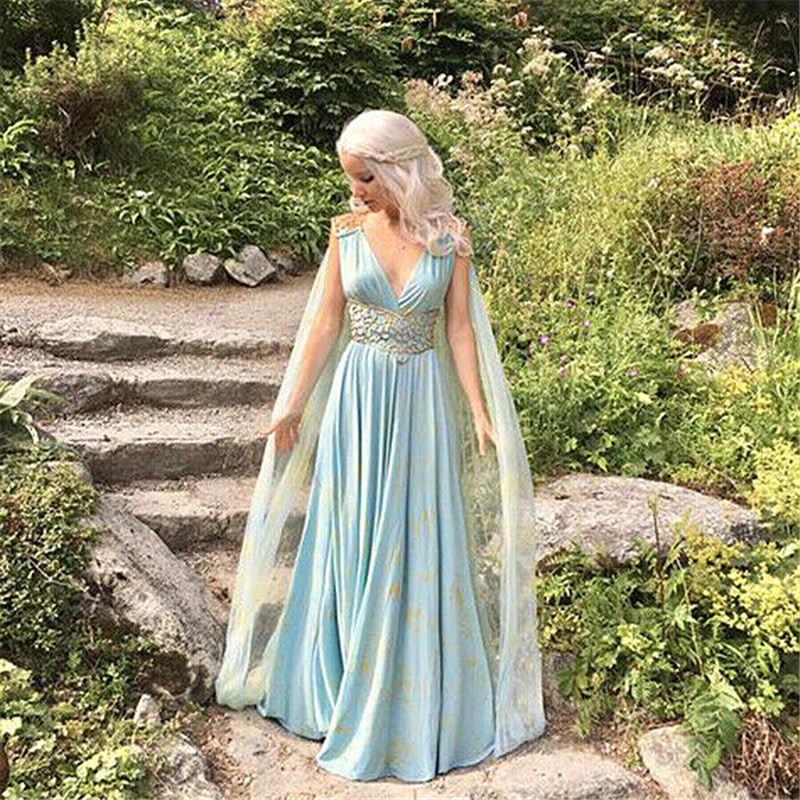 Image 3 - Hot Women Cosplay Costumes Dress Mother of Dragons Game of Thrones Daenerys Targaryen Maxi Dress Costume Party Clubwear Costumes-in Movie & TV costumes from Novelty & Special Use