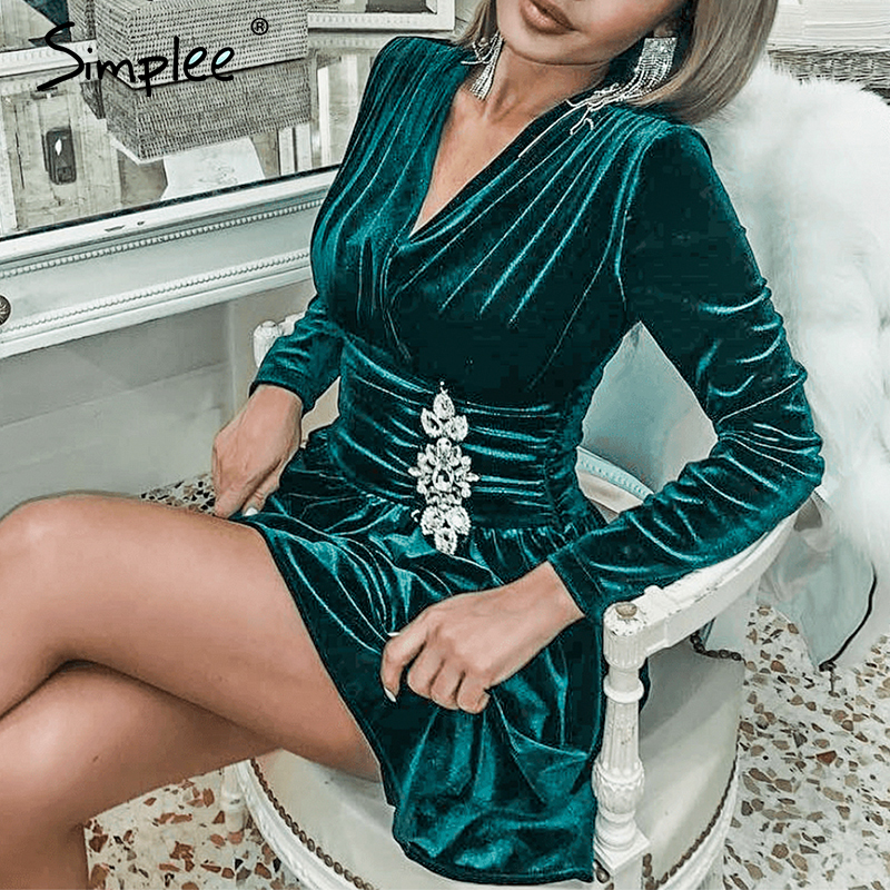 Simplee Sexy V-neck Velvet Dress Elegant Long Sleeve Crystal Ruched Short Party Dress Office Lady Chic Autumn Winter Mini Dress