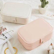 Simple Women Earring storage Box Portable Leather Jewelry Necklace Earrings Ring Multi-function Storage