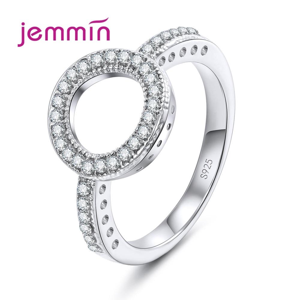 Womens 925 Silver Diamond Rings Fashion Rhinestone Wedding Birthday Party Gifts