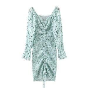 Image 5 - 2020 حزمة جديدة Hips دوت طباعة فستان بكم طويل أنيق المرأة جلد حتى مطاطا Ruched منتصف فساتين حفلات طويلة سليم صالح Vestido