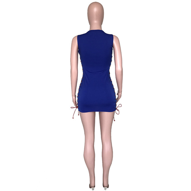 women new sexy bodycon dress summer sleeveless lace up letter print sexy short mini dress female casual dress DHR8009 5