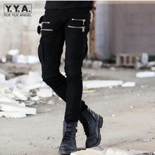 New Mens Slim Fit Casual Trousers Pleated Cargo Jeans Denim Overall Skinny Pants Military Fitness Overall Pants Trousers Homme(China)